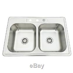 33x22x8 Double Bowl 18 Gauge Stainless Steel Sink Undermount Drop Kitchen