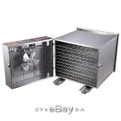 Commercial 10 Tray Stainless Steel Food Fruit Jerky Dryer Blower Dehydrator